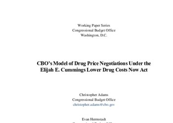 CBO's Model of Drug Price Negotiations Under the Elijah E. Cummings Lower Drug Costs Now Act: Working Paper 2021-01