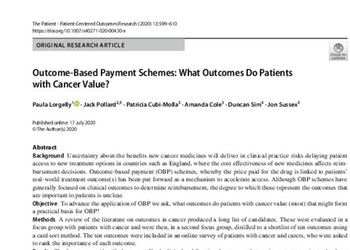 Outcome‑Based Payment Schemes: What Outcomes Do Patients with Cancer Value?