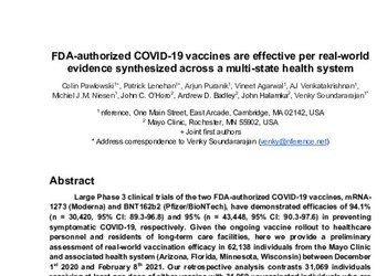 FDA-Authorized COVID-19 Vaccines are Effective Per Real-World Evidence Synthesized Across a Multi-State Health System