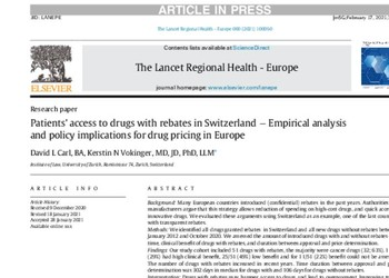Patients' access to drugs with rebates in Switzerland  Empirical analysis and policy implications for drug pricing in Europe