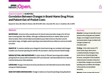 Correlation Between Changes in Brand-Name Drug Prices and Patient Out-of-Pocket Costs