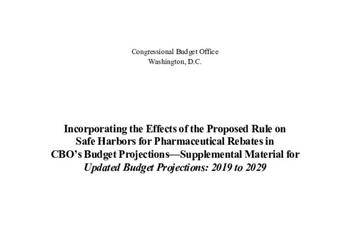 Incorporating the Effects of the Proposed Rule on Safe Harbors for Pharmaceutical Rebates in CBO's Budget Projections