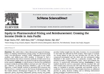 Equity in Pharmaceutical Pricing and Reimbursement: Crossing the Income Divide in Asia Pacific