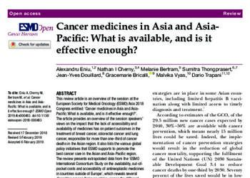 Cancer Medicines in Asia and AsiaPacific: What is Available, and is it Effective Enough?