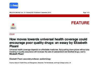 How Moves Towards Universal Health Coverage Could Encourage Poor Quality Drugs: An Essay by Elizabeth Pisani