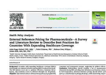 External Reference Pricing for Pharmaceuticals