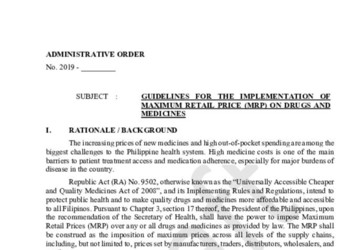 Guidelines for the Implementation of Maximum Retail Price (MRP) on Drugs and Medicines