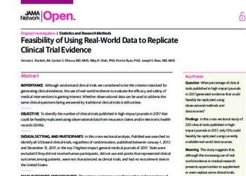 Feasibility of Using Real-World Data to Replicate Clinical Trial Evidence
