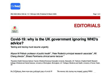 Covid-19: Why is the UK Government Ignoring WHO's Advice?