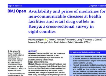 Availability and prices of medicines for non-communicable diseases at health facilities and retail drug outlets in Kenya: a cros