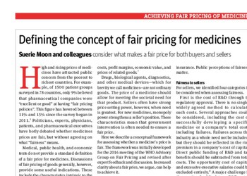 Defining the concept of fair pricing for medicines