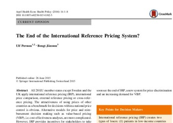 International Reference Pricing (IRP) – All-the-Rage, or End-of-the-Road?